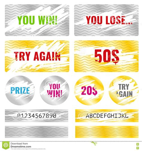 scratch card design template scratch card win lottery vector elements stock vector