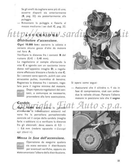 candele d accensione manuale uso e manutenzione della fiat sport 850 spider