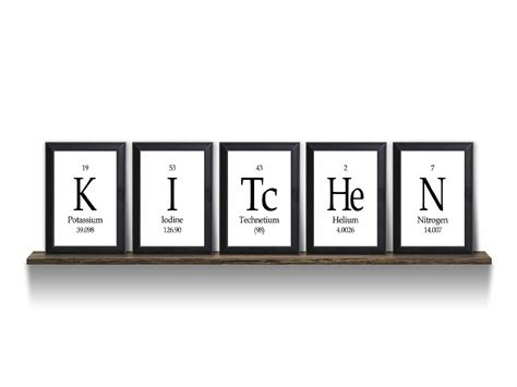periodic table home decor kitchen periodic table framed 5 piece from neurons not