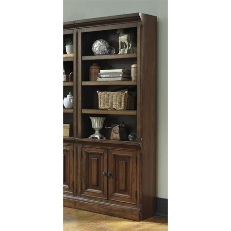Large Bookcase With Doors Gaylon Large 4 Shelf Bookcase With Doors In Burnished Brown H704 17