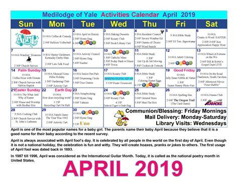 april calendar medilodge yale