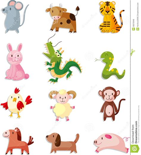 new year monkey colouring in 12 animal icon set zodiac animal royalty free