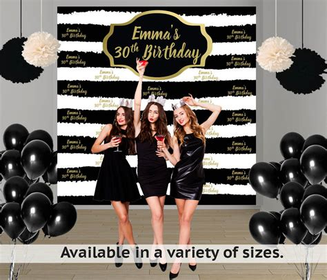 backdrop design sweet 17 birthday stripes party personalize photo backdrop milestone