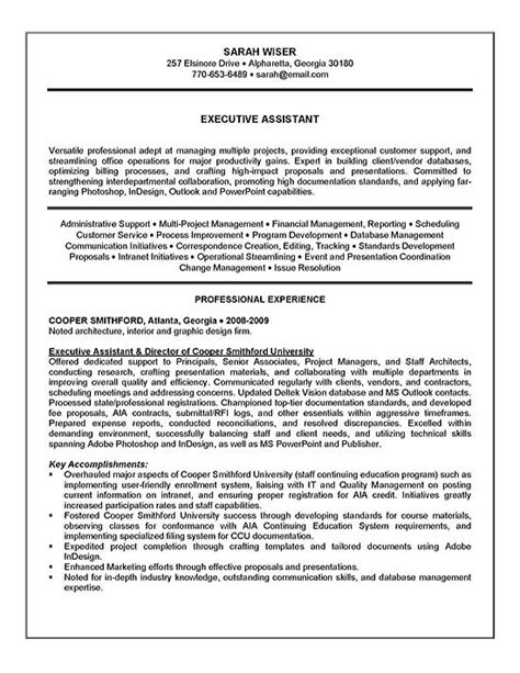 Great Resume Administrative Assistant Executive Assistant Resume Exle Sle