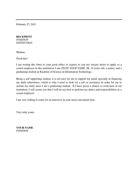 Request Letter To Municipality Application Letter For Applying As A Casual Employee