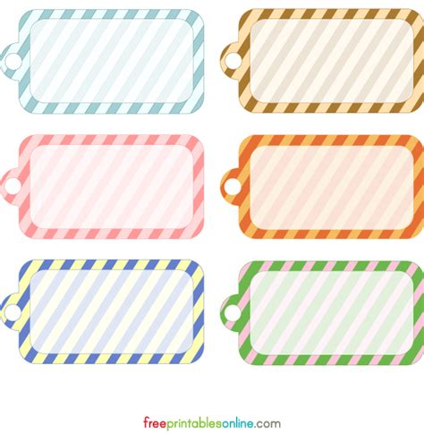 Free Printable Tags Templates blank printable simple stripes gift tag template free