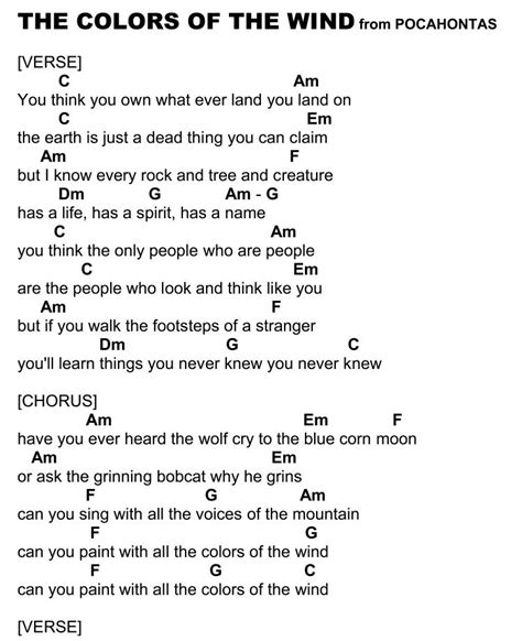 colors of the wind song colors of the wind page 1 ukulele songs