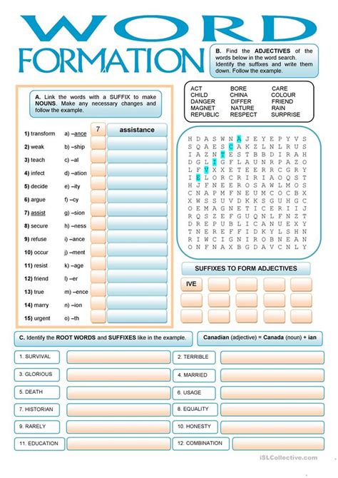 patterns of english word formation word formation suffixes worksheet free esl printable