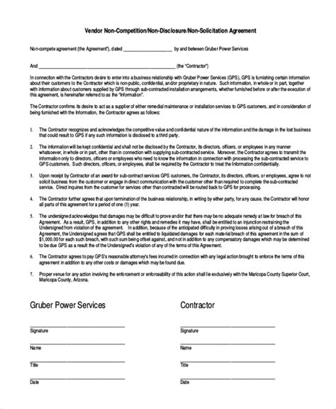 non compete agreement template pdf vendor non compete agreement template 10 free word pdf
