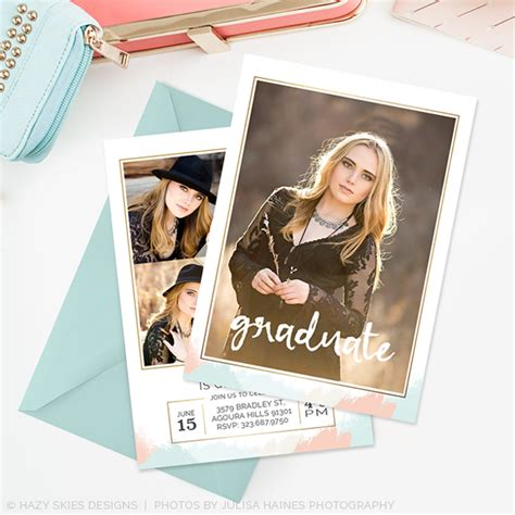 Graduation Card Templates For Photographers by Senior Graduation Announcement Template Brushed