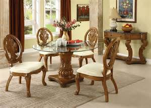 Glass Wood Dining Table Sets Coronado Oak Finish Solid Wood Pedestal Glass Top Dining Table Set