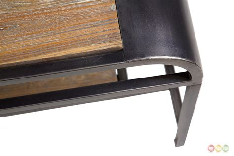 vail casual acacia wood coffee table with black