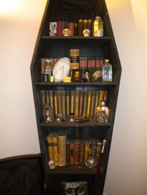 coffin bookcase make looking books with quot spells quot and