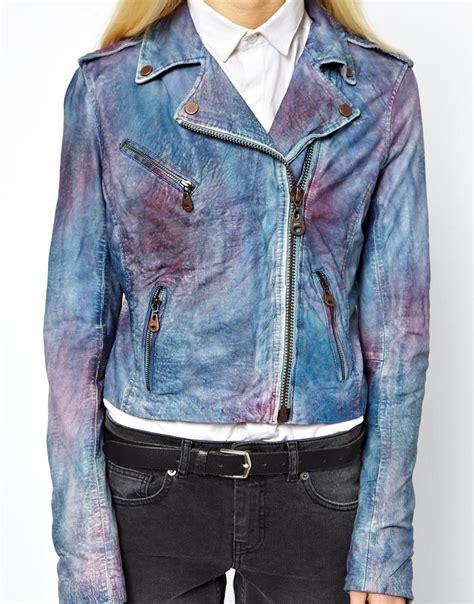 doma leather tie dye jacket in blue tiedye lyst