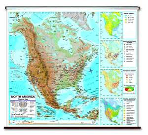 america features map physical continent school roller wall maps