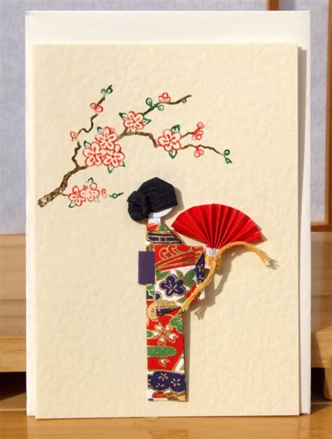 Handmade Japanese - greetings card handmade geisha holding fan with japanese