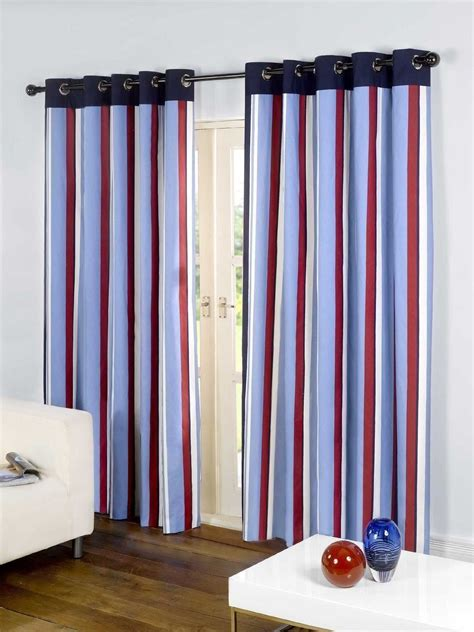 striped cotton curtains striped cotton mix ring top lined red blue thick curtains