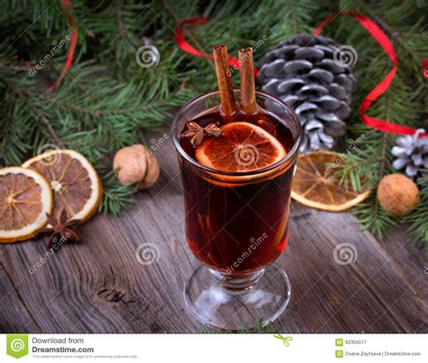 dry sticks decoration drone fly tours mulled wine sliced dried orange cinnamon sticks stock