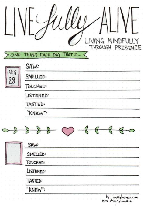 A Mindfulness Bullet Journal Layout Living Present Mindfulness Journal Template