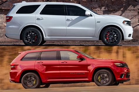 trailhawk jeep srt styling size up dodge durango srt vs jeep grand cherokee