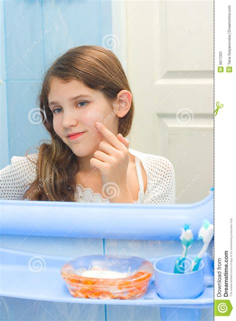 girl in the bathroom teen girl in bathroom stock image image 9971331