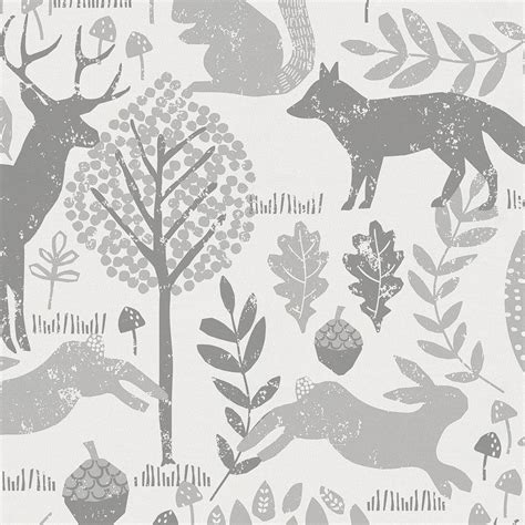 gray woodland animals fabric by the yard gray fabric