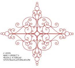 free hand embroidery design scrolly medallion