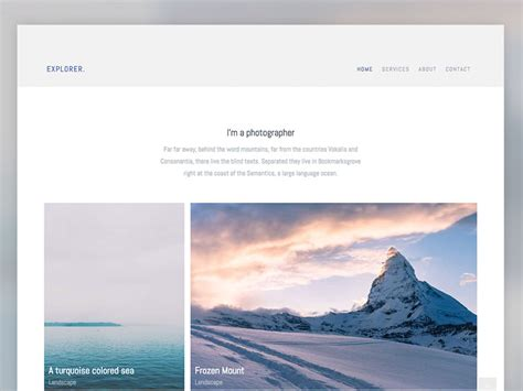 explorer free photography website template using