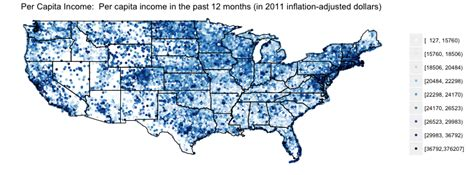 r maps zip code population and per capita income in the 2011 acs