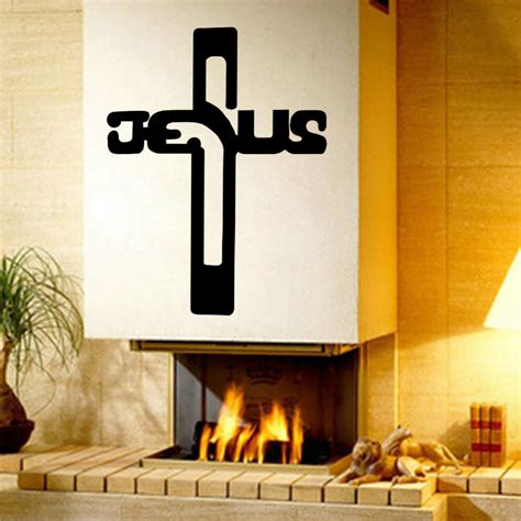 Jesus Home Decor Christian Jesus Cross Home Decor Vinyl Wall Sticker Wallpaper Wall Decals Qt0254 In Wall