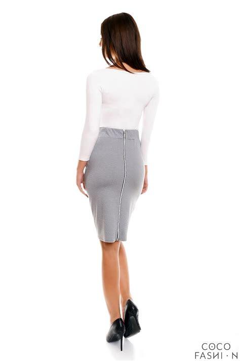 grey pencil cut office style skirt