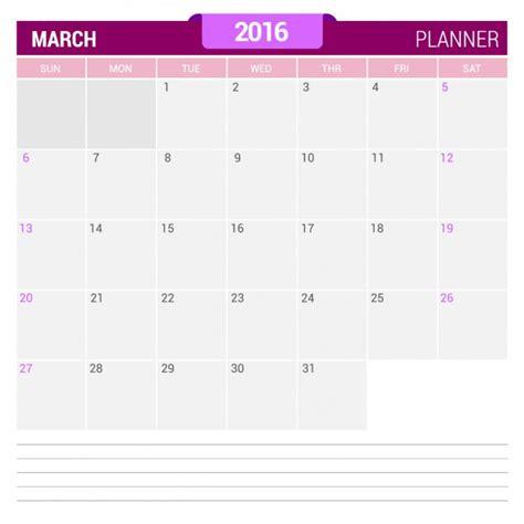 Calendario De Marzo Calendario De Marzo 2016 Descargar Vectores Gratis