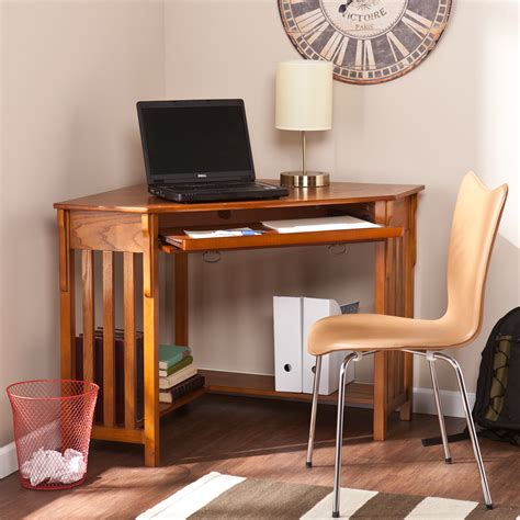 new mission oak corner computer desk table wood home