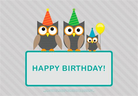 Happy Birthday Card Template Ilustrator by Owl Family Birthday Card Template Vector Free