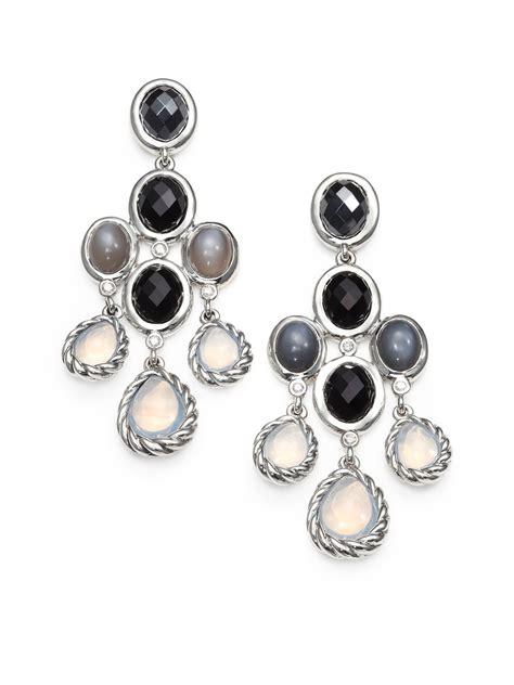 David Yurman Semi Precious Multi Stone Sterling Silver Sterling Chandelier Earrings
