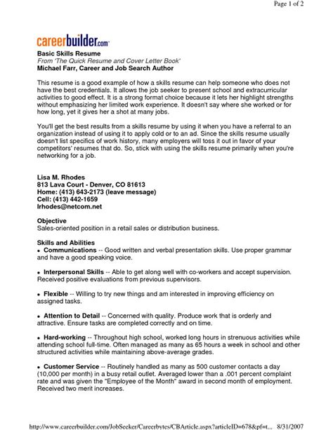 basic resume sles skills 22 best images about basic resume on high