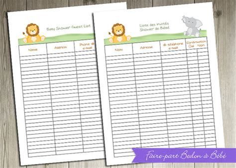 baby shower guest list template 8 free word excel pdf