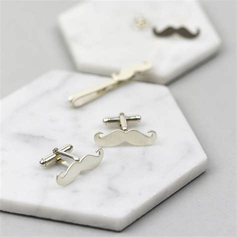 Handmade Cufflinks - handmade sterling silver moustache cufflinks by ruby tynan