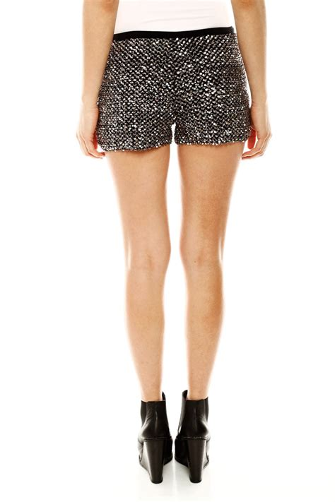 beaded shorts hello miss silver sequin shorts from branford by polished