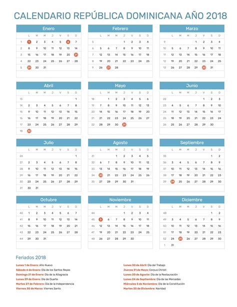 Calendario Republica Dominicana 2018 Calendario Rep 250 Blica Dominicana A 241 O 2018 Feriados