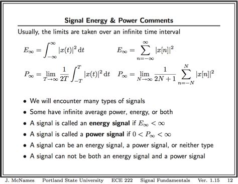 definition of power signals and energy signals
