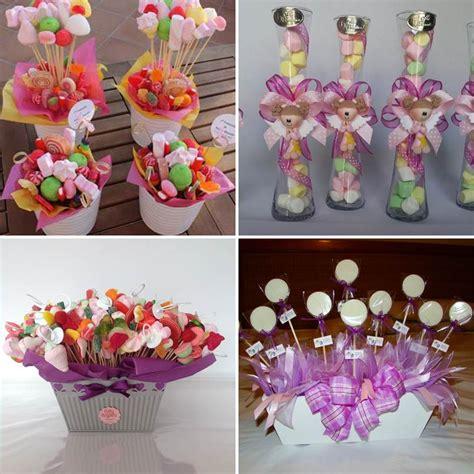 para bautizo compuesta por cuatro centros de flores de papel para centros de mesa con dulces para fiestas infantiles