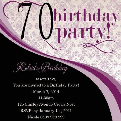 template for 70th birthday party invitation 17 best images about 70th birthday invitations on