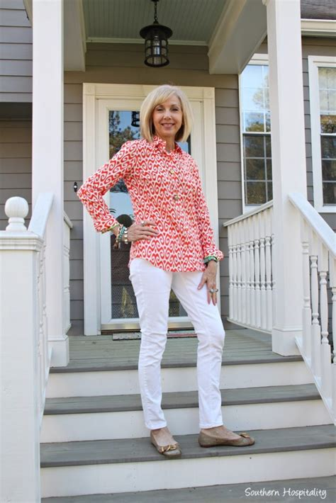 how to dress after 50 fashion over 50 white jeans southern hospitality