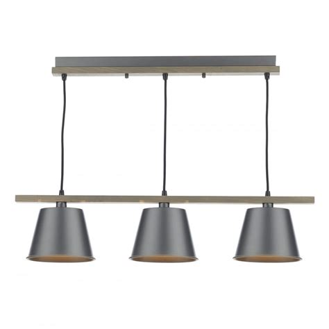 Bar Pendant Ceiling Light In Natural Wood With Grey Metal Bar Ceiling Lights
