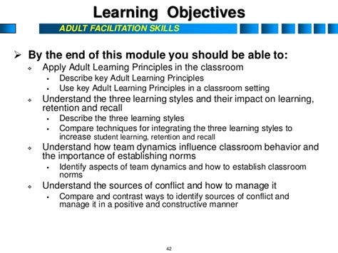 Mba Learning Objectives by Facilitation Skills