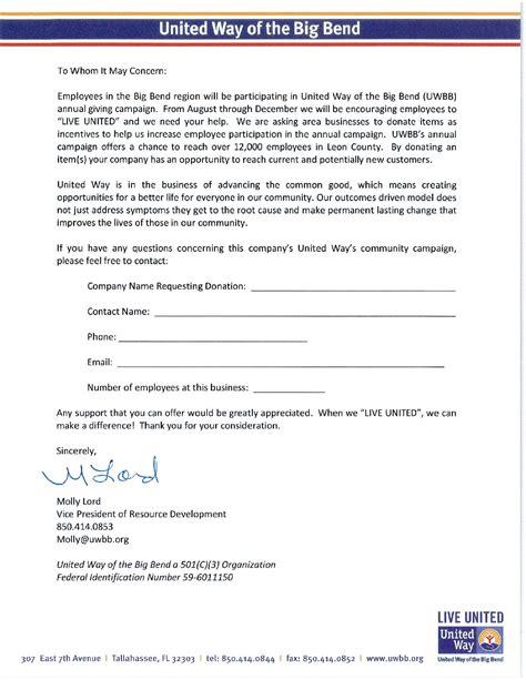 uwbb campaign donation request letter united