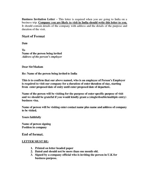 business visa uk invitation letter invitation letter