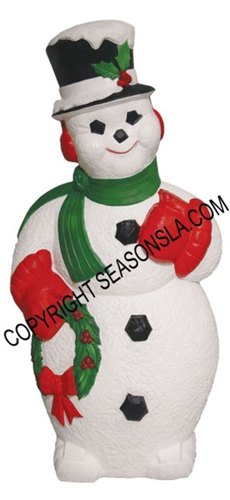 general foam snowman with wreath snowman holding wreath light up plastic decoration s by general foam plastics corporation