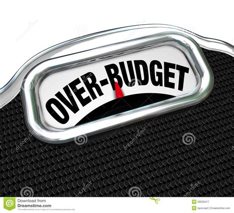 Over Budget Words On Scale Financial Trouble Debt Deficit Royalty Free Stock Photography   Image